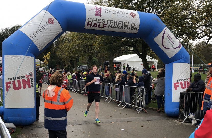 Lee at the finishing line of the Chesterfield Half Marathon