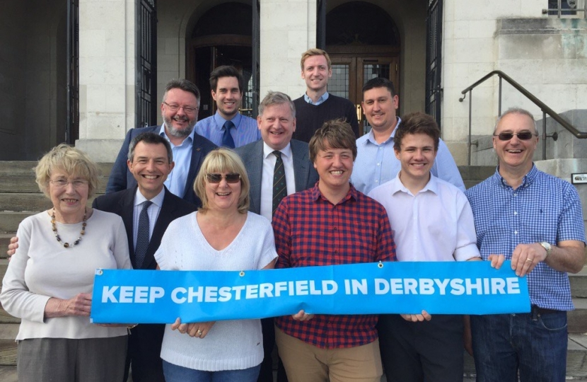 Lee with campaigners at Chesterfield Town Hall