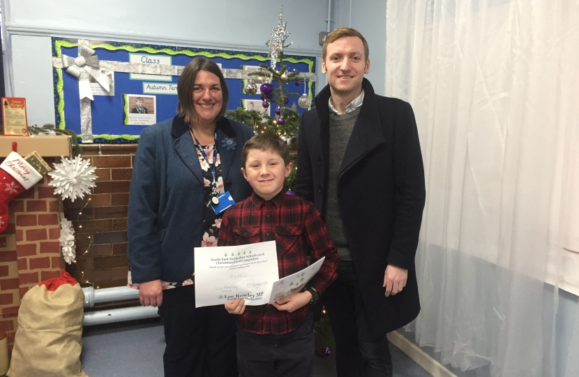 Lee with Zach and Temple Normanton's Head Teacher, Mrs Stone